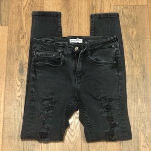 Zara Size 2 Black Skinny Destroyed Denim Jean
